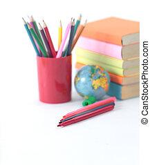 .photo, matite, spazio, globo, libri, fondo, bianco, copia