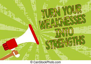 photo, messages., défauts, raid, ton, haut-parleur, rayons, écriture, note, strengths., tenue, porte voix, les, grunge, business, obtenir, projection, faiblesses, important, homme, travail, virage, vert, showcasing