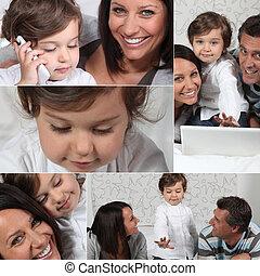 photo-montage, μικρός , γονείς , κορίτσι , laptop