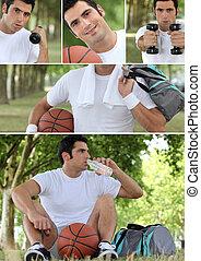 photo-montage, basket-ball, giocatore