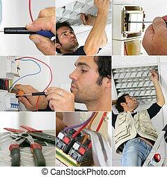 photo-montage, de, une, électricien, au travail