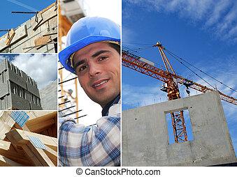 photo-montage, indústria, construção