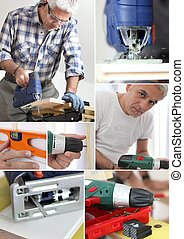 Photo-montage of a carpenter