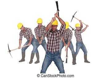 photo-montage, pickaxe, trabalhador, usando