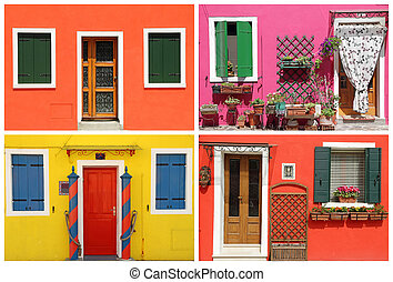 multicolor  vivid painted houses