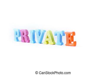 .photo, mot, espace, privé, arrière plan flou, copie