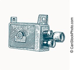 Photo movie film camera vintage, engraved hand drawn in sketch or wood cut style, old looking retro lens, isolated vector realistic illustration