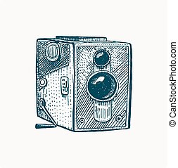 Photo movie or film camera vintage, engraved, hand drawn in sketch or wood cut style, old looking retro lens, isolated vector realistic illustration