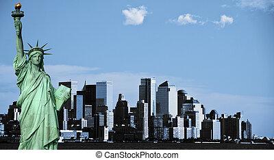 photo new york city skyline, downtown nyc, usa