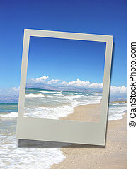 photo of a beautiful sandy beach, vacation concept