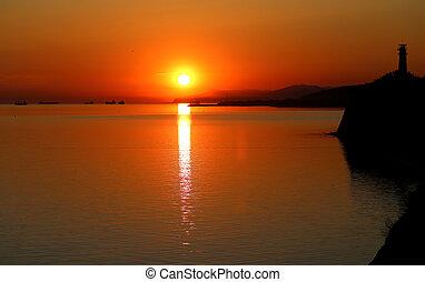 Photo of a beautiful sunset on the sea