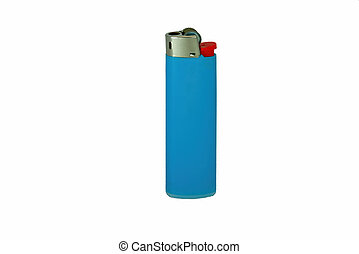 Photo of a blue used lighter isolated on white background. Close up.