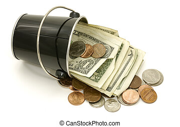 Bucket of Cash - Photo of a Bucket With Cash - Bucket of...
