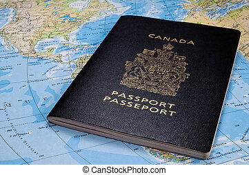 Canadian passport - Photo of a Canadian passport on map.