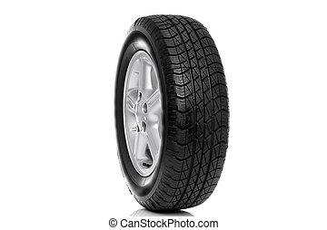 Photo of a car tyre (tire) on a five spoke alloy wheel...