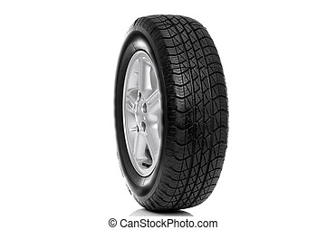 Photo of a car tyre (tire) on a five spoke alloy wheel ...