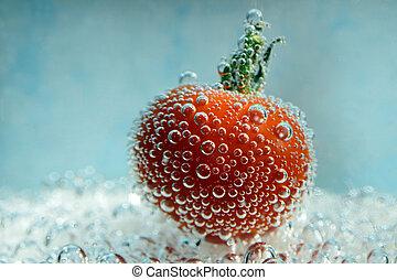 cherry tomato with bubbles