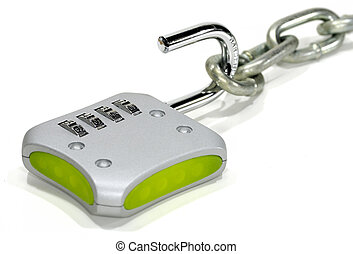 Combination Lock - Photo of a Combination Lock and a Chain...