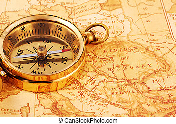 Compass - Photo of a Compass on a Map