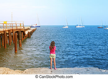 Photo of a girl and the sea