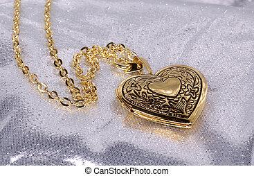 Heart Locket - Photo of a Gold Heart Locket / Pendant