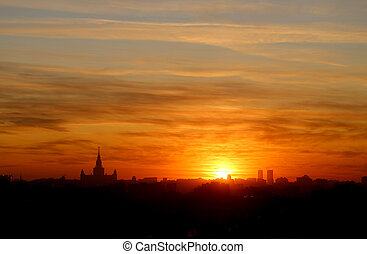 Photo of a gorgeous sunset view from the top in Moscow