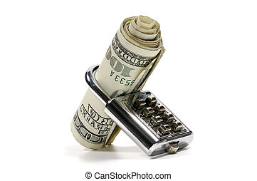 Photo of a Lock and Money - Banking Concept