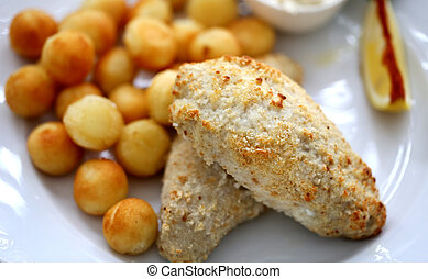 Photo of a macro fish dish with potatoes