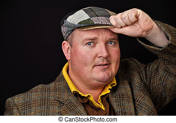 photo of a male in his 30's overweight on black background