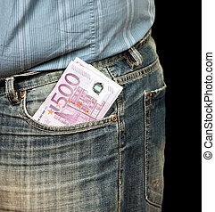 male person with 500 euro in cash on black
