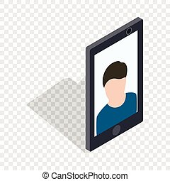 Photo of a man on the screen of smartphone icon