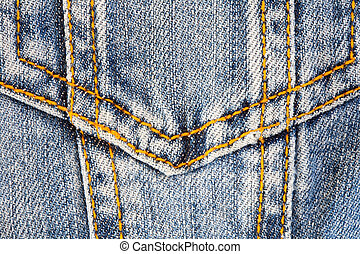 Photo of a pocket jeans with yellow thread