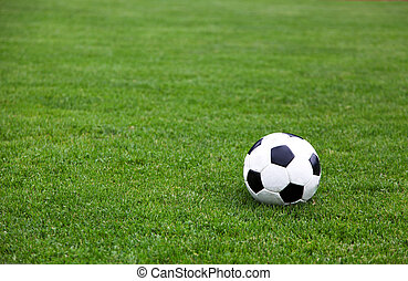 Soccer Ball On Stadium Field