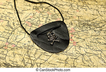 Pirates Eye Patch - Photo of a Vintage Map and a Pirates Eye...