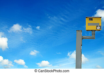 Photo of a yellow speed camera, with space for your text /...