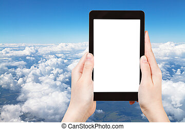 photo of above view of white clouds in blue sky