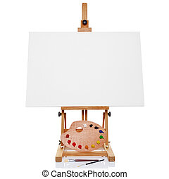 Photo of an artists easel with a blank canvas plus palette of paint and brushes, isolated on a white background.