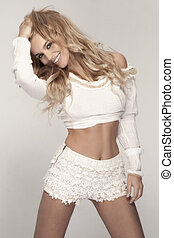 Photo of attractive caucasian smiling woman blond isolated....