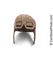 aviator hat - photo of aviator hat made of cardboards. Pilot...