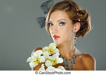 Photo of beautiful girl in weddings decorations in fashion style