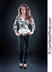 Photo of beautiful girl is in fashion style, glamur