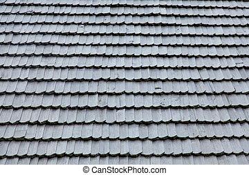 photo of beautiful grey wooden roof shingles