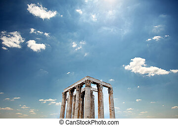 photo of beautiful ruined temple on the wonderful sky...