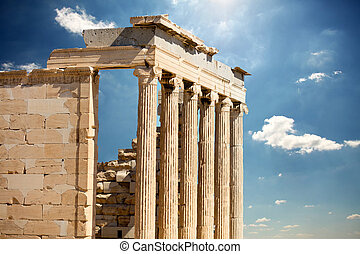 photo of beautiful ruined temple on the wonderful sky background in Greece