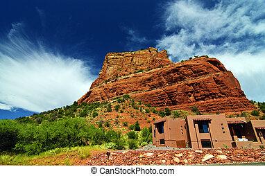 beautiful scenic red sandstone rock landscape