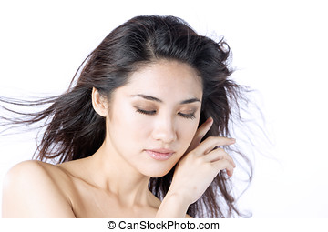 Photo of beautiful woman sleeping
