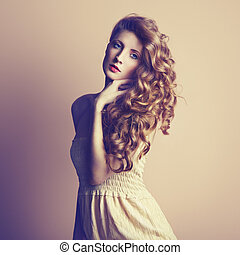 Photo of  beautiful young woman. Vintage style
