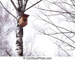 Photo of birdhouse in the spring Park.