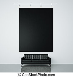 Photo of black empty canvas on the white wall background and generic design sofa. Vertical. 3d render