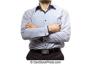 Photo of business man - no face on white background